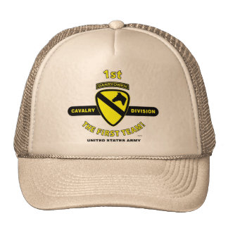 """1st Cavalry Division """"The First Team"""" Trucker Cap Hat"""