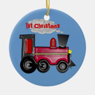 1st Christmas 3D Train Ceramic Ornament