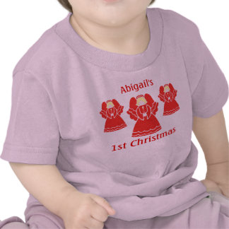 1st Christmas Angels in Red Lace T Shirt
