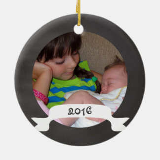 1st Christmas as a Big Sister Chalkboard Round Ceramic Decoration