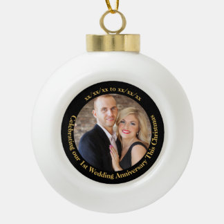 1st Christmas as Mr Mrs Wedding Anniversary PHOTO Ceramic Ball Christmas Ornament