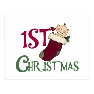1st Christmas-Baby in Stocking Postcard