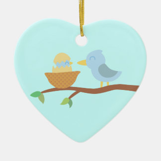 1st Christmas: Blue bird with just hatched baby Christmas Ornaments