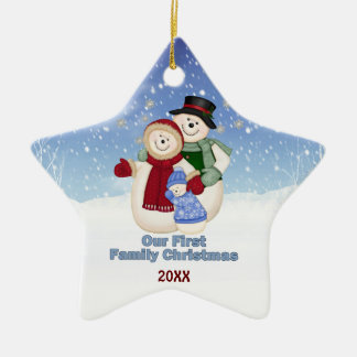 1st Christmas -Blue Frosty Snowman Family Ceramic Star Decoration