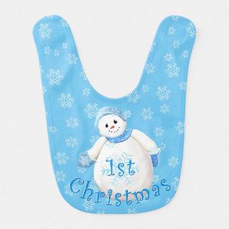 1st Christmas Cute Snowman and Snowflakes Bib
