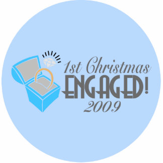 1st Christmas Engaged 2009 (Xmas Ornament) Photo Sculpture Decoration