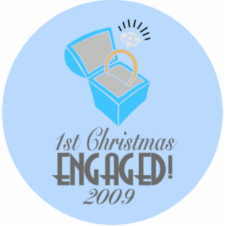 1st Christmas Engaged 2009 (Xmas Ornament) Photo Sculpture Decoration