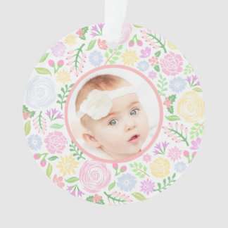 1st Christmas Floral Pastel Ornament, Reversed
