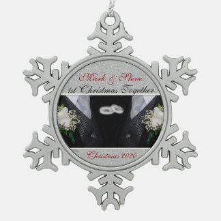 1st Christmas   Gay Marriage   Custom Snowflake Pewter Christmas Ornament