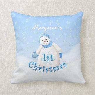 1st Christmas Happy Snowman Custom Cushion