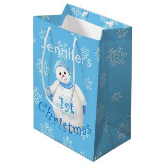 1st Christmas Snowman Custom Name Medium Gift Bag