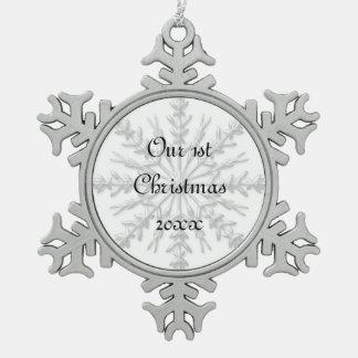 1st Christmas Together Snowflake Snowflake Pewter Christmas Ornament