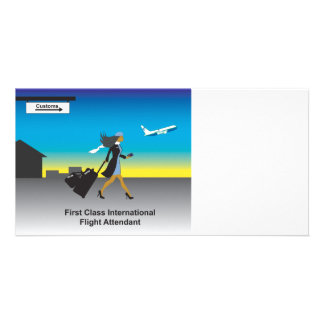 1st Class International Flight Attendant Personalised Photo Card
