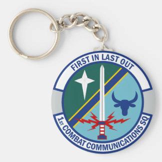 1st Combat Communications Squadron Basic Round Button Key Ring