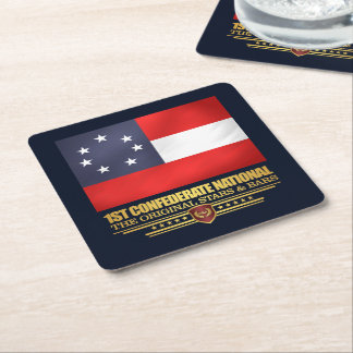 1st Confederate National Square Paper Coaster