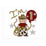 1st Cowboy Birthday Tshirts and Gifts Postcards
