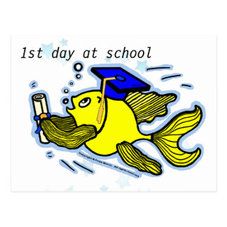 1st Day at School funny cute cartoon greeting card Postcard