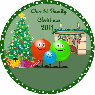 1st Family Christmas Ornament 2011 Photo Cutout