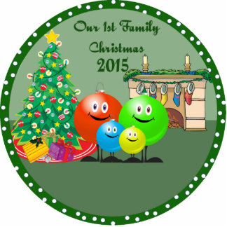 1st Family Christmas Ornament 2015 Photo Sculptures