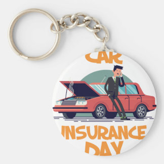 1st February - Car Insurance Day Basic Round Button Key Ring