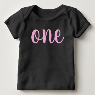 1st first birthday baby girl pink one cursive baby T-Shirt