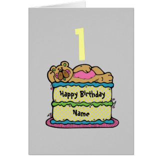 1st First Birthday teddybear cake personalized Card
