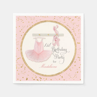 1st First Girls Birthday Party Ballerina Tutu Disposable Napkins