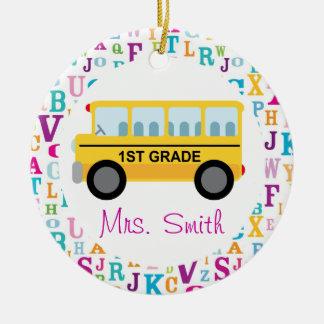 1st Grade Personalized School Bus Teacher Ornament