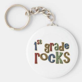 1st Grade Rocks First Basic Round Button Key Ring