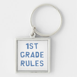 1st Grade Rules Silver-Colored Square Key Ring