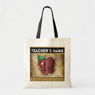1st Grade School Teacher Rocks Vintage Styled Budget Tote Bag