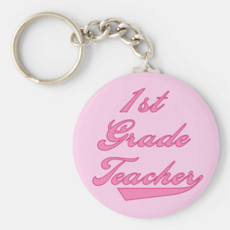 1st Grade Teacher Pink Tshirts and Gifts Keychains