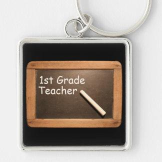 1st Grade Teacher - Rustic Vintage School Slate Silver-Colored Square Key Ring