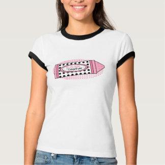 1st Grade Teacher Shirt- Pink Polka Dot Crayon T-Shirt