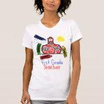 1st Grade Teacher T Shirt - Schoolhouse & Crayons