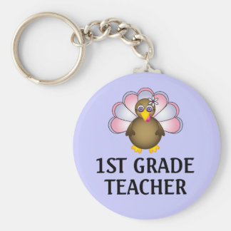 1st Grade Teacher Turkey Keychain