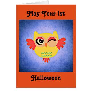 1st Halloween Cute Owl Card