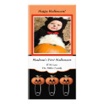 1st Halloween Pumpkin Diaper Pins Photo Card