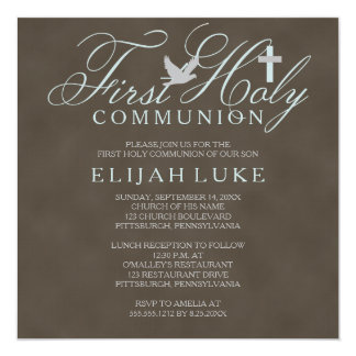 1st Holy Communion Boy Dove Cross Brown Distressed 13 Cm X 13 Cm Square Invitation Card