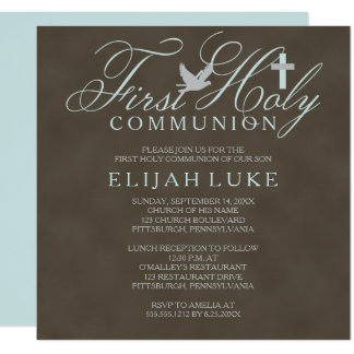1st Holy Communion Boy Dove Cross Brown Distressed Card