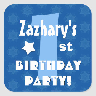 1st Kids Birthday Party Custom Name V1 Square Sticker