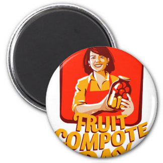 1st March - Fruit Compote Day - Appreciation Day 6 Cm Round Magnet