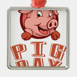 1st March - Pig Day Silver-Colored Square Decoration