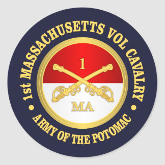 1st Massachusetts Volunteer Cavalry Classic Round Sticker