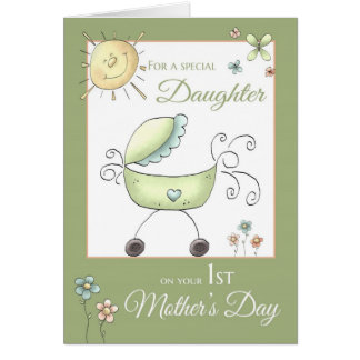 1st Mother's Day - Special Daughter - Baby Carriag Greeting Card