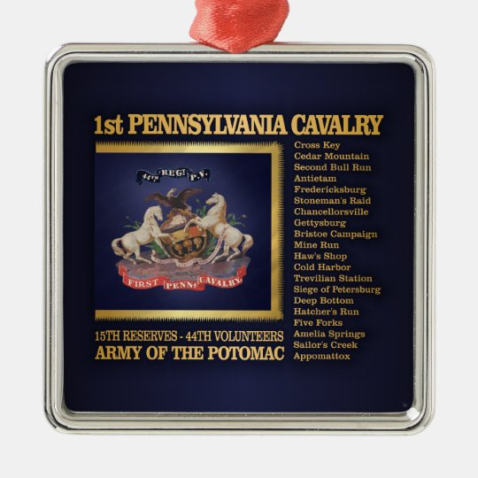 1st Pennsylvania Cavalry (BH) Metal Ornament