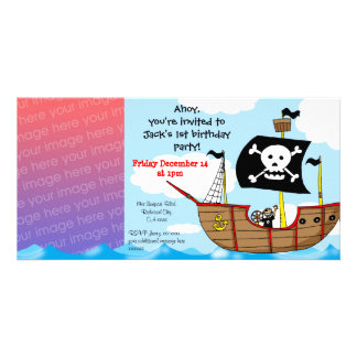 1st pirate birthday boy party invitations personalised photo card