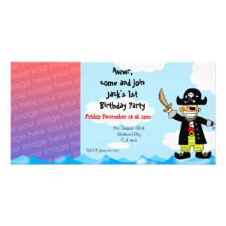 1st pirate birthday boy party invitations photo cards