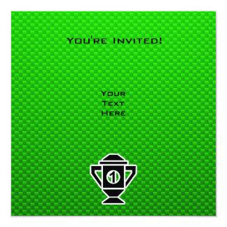 1st Place Trophy; Green 13 Cm X 13 Cm Square Invitation Card