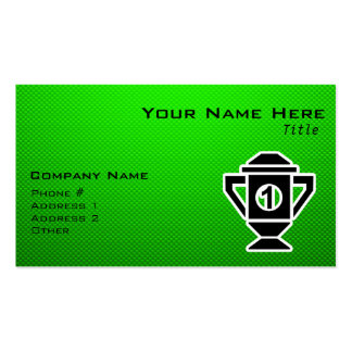 1st Place Trophy; Green Business Card Template